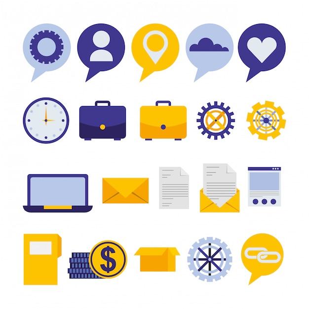Bundle di icone di social media marketing Vettore gratuito