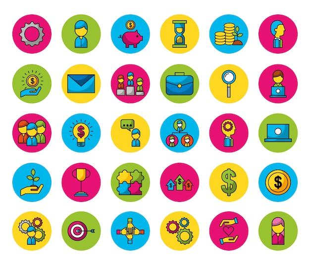 Bundle di persone e icone di affari Vettore gratuito