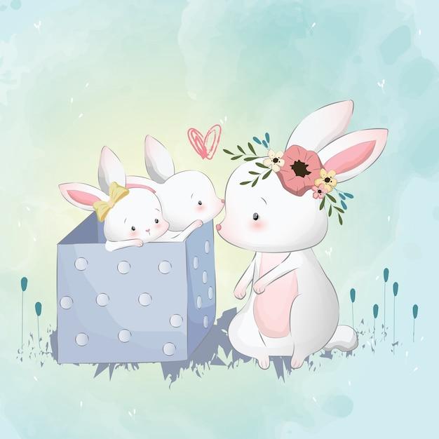 Bunny mamma e bambini Vettore Premium