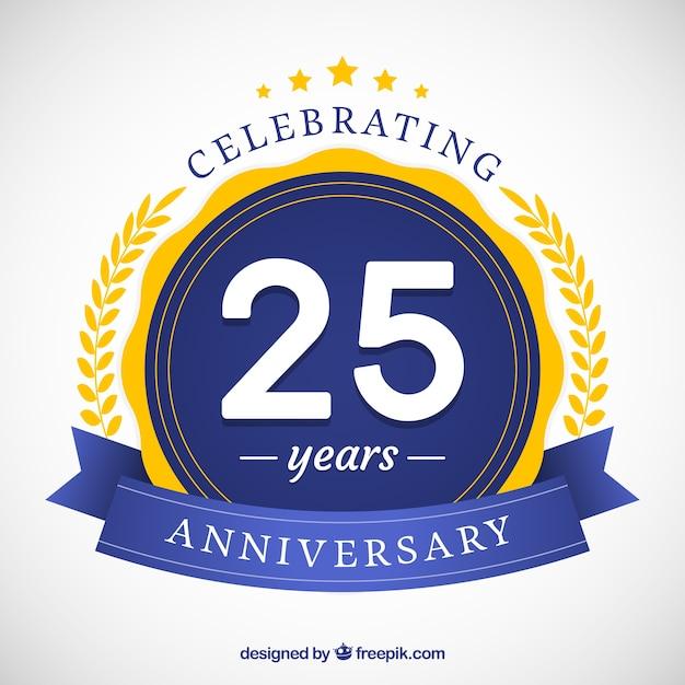 Buon 25 ° anniversario sfondo in stile piatto Vettore gratuito