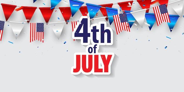Buon 4 luglio. Vettore Premium