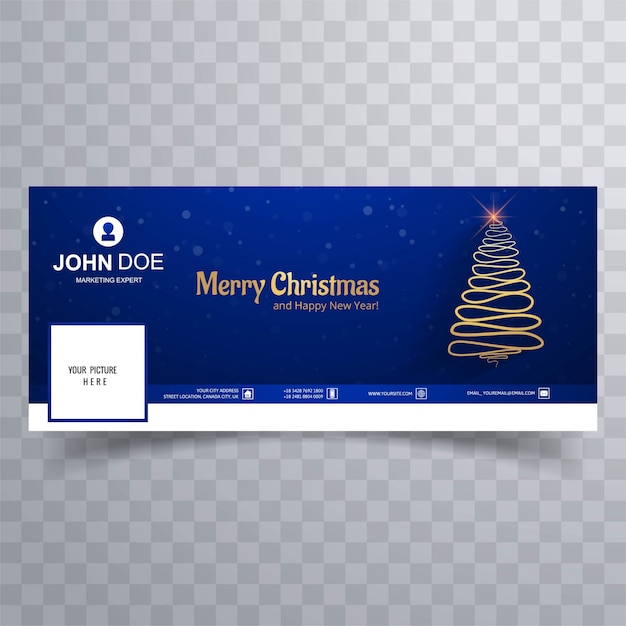 Buon albero di natale con il modello di banner copertina di facebook Vettore Premium