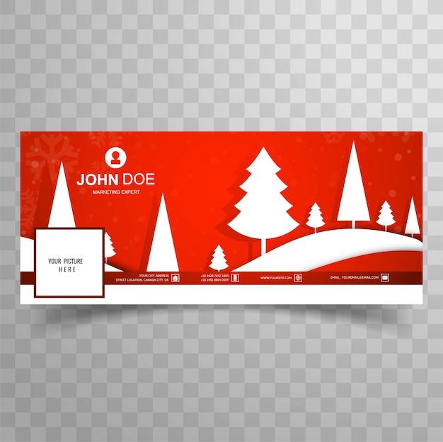 Buon albero di natale con sfondo modello banner facebook Vettore gratuito