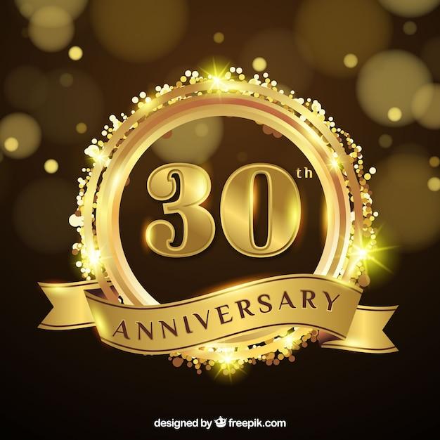 Buon anniversario con numeri in stile dorato Vettore gratuito