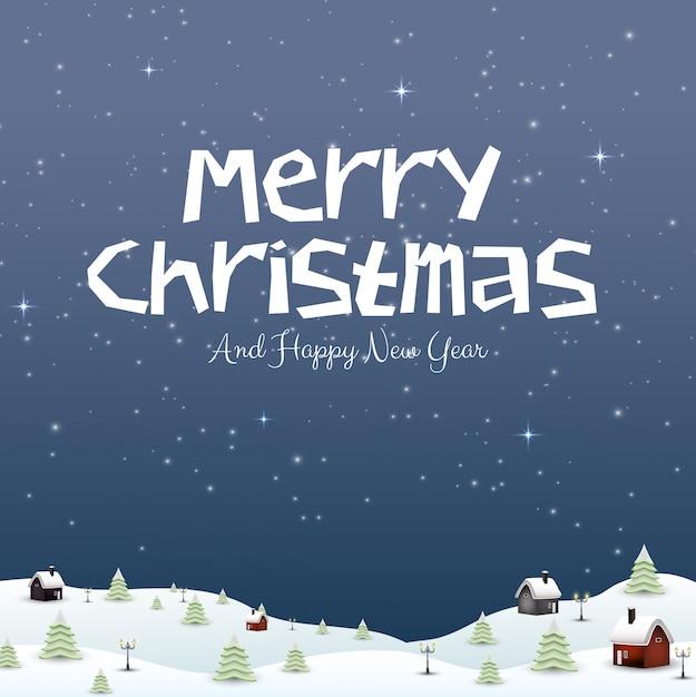Buon anno nuovo merry christmas 2019 e neve Vettore Premium
