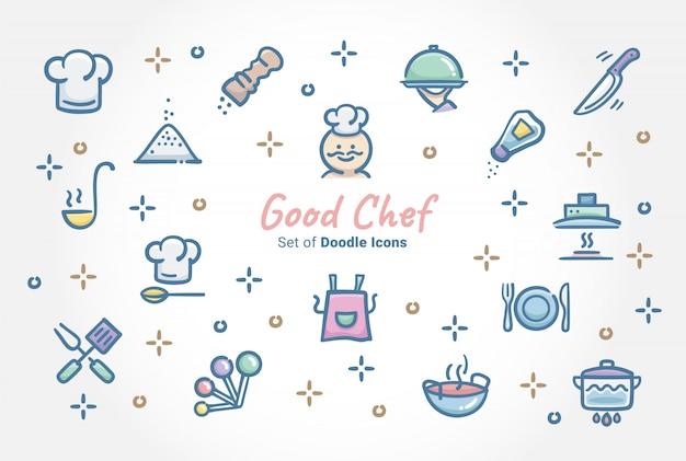 Buon chef doodle icon set Vettore Premium