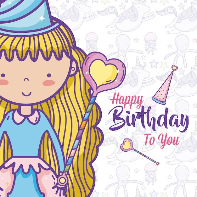 Buon compleanno carta per ragazze Vettore Premium