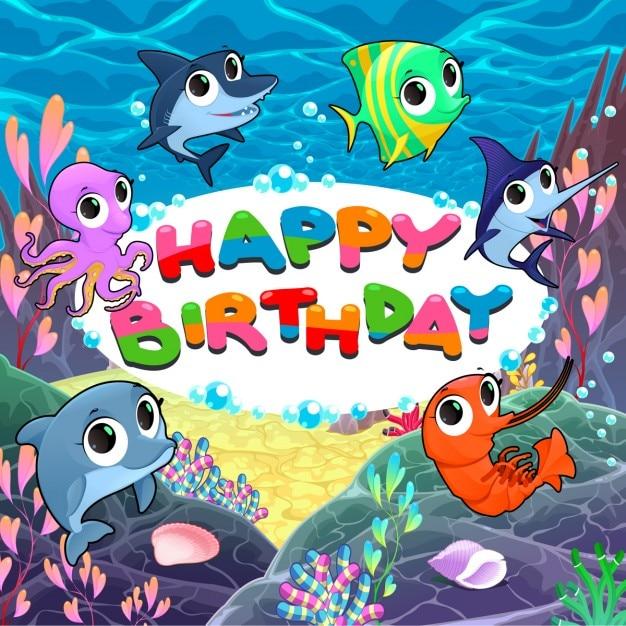Buon Compleanno Con I Pesci Divertenti Scaricare Vettori Gratis