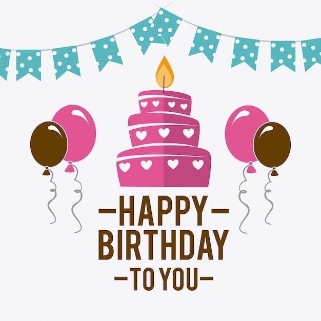Buon compleanno design Vettore Premium