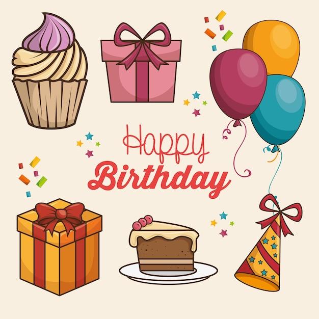 Buon Compleanno Disegno Isolato Scaricare Vettori Premium