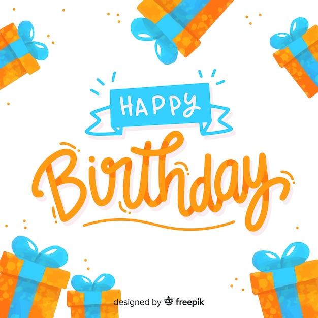 Buon compleanno lettering design di sfondo Vettore gratuito