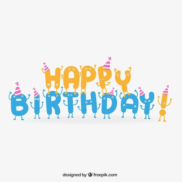 Buon compleanno lettering in stile cartone animato