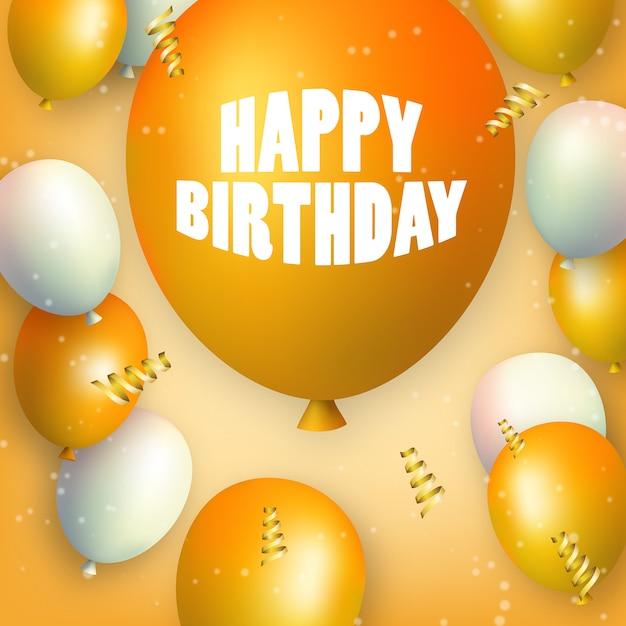 Buon compleanno palloncini arancioni e bianchi con uno grande Vettore Premium