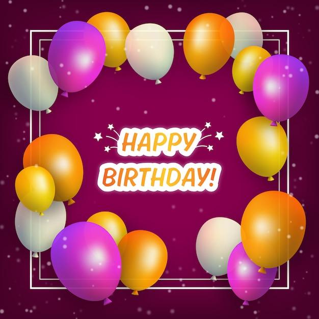 Buon compleanno palloncini colorati Vettore Premium