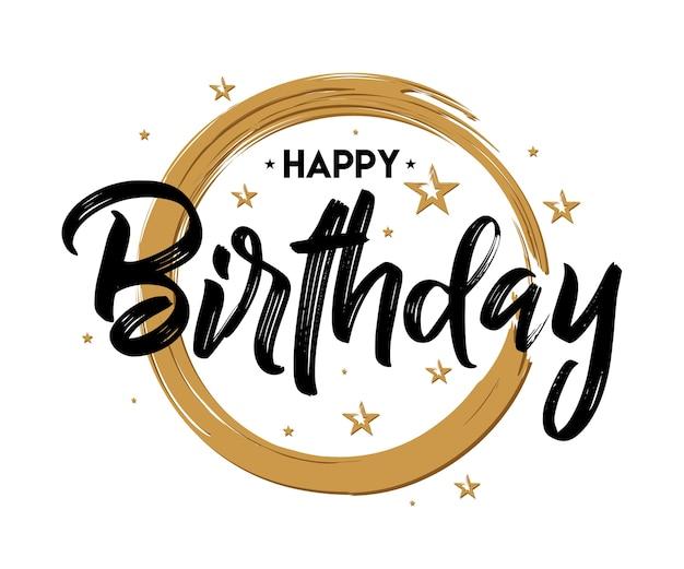 Buon compleanno - tipografia vintage - scritto a mano, pennello penna lettering, per il saluto Vettore Premium