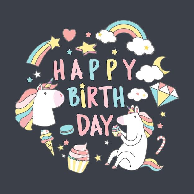 Buon compleanno unicorno con elementi magici carta vettoriale Vettore gratuito