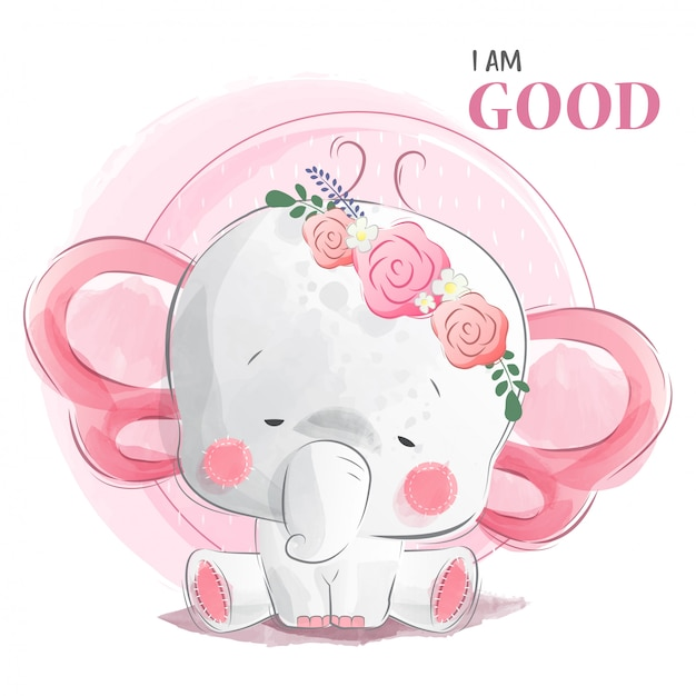 Buon elefantino Vettore Premium