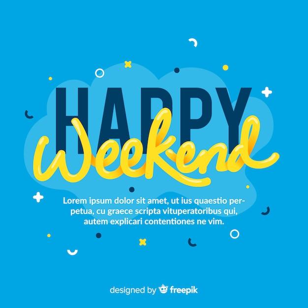 Buon fine settimana lettering sfondo Vettore gratuito