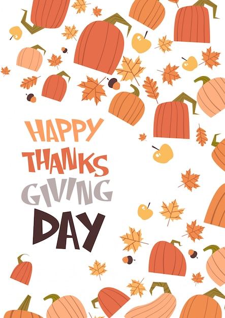Buon giorno del ringraziamento autumn traditional harvest greeting card Vettore Premium