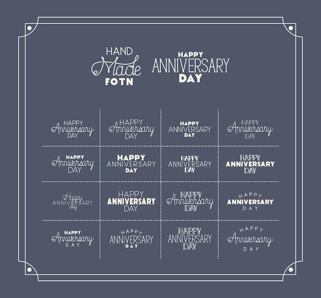 Buon giorno dell'anniversario con set di caratteri fatti a mano Vettore Premium