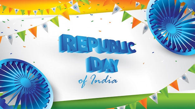 Buon giorno della repubblica indiana Vettore Premium