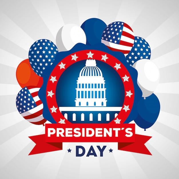 Buon giorno di presidenti con il parlamento americano e la decorazione Vettore Premium