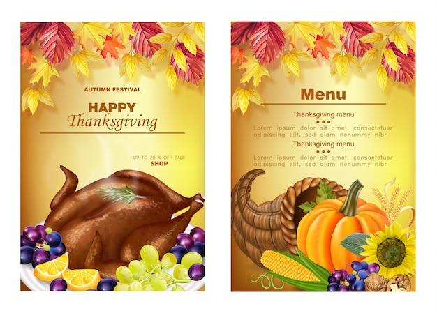 Buon menu del ringraziamento Vettore Premium