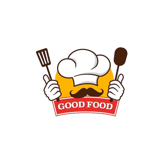 Buon modello di logo di cibo Vettore Premium