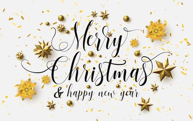 Buon Natale Calligrafia Con Uno Sfondo Bianco E Scintillanti Stelle
