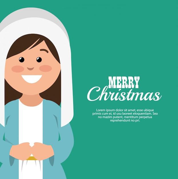 Buon natale card con vergine maria sorridente Vettore gratuito