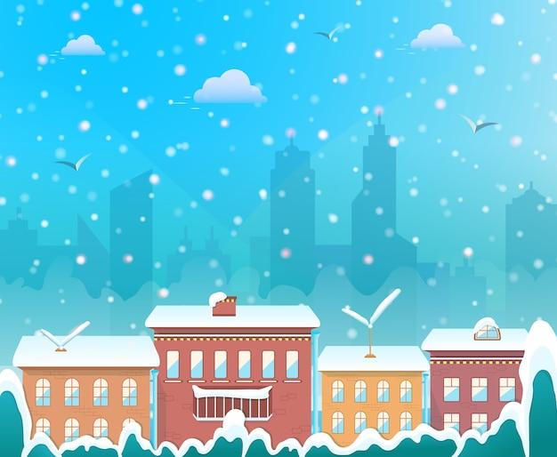 Buon natale, città sullo sfondo invernale, accogliente città innevata alla vigilia delle vacanze, villaggio di natale Vettore Premium