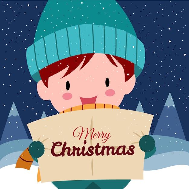 Buon natale con il simpatico ragazzo disegnato a mano kawaii indossando il costume invernale Vettore Premium