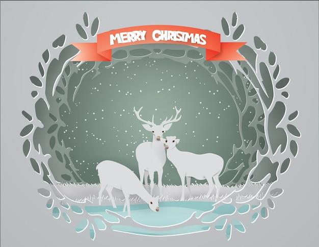 Buon natale con la famiglia deer Vettore Premium