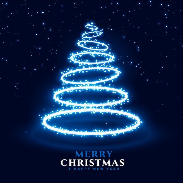 Buon natale e felice anno nuovo auguri con albero di natale al neon in stile anello Vettore gratuito