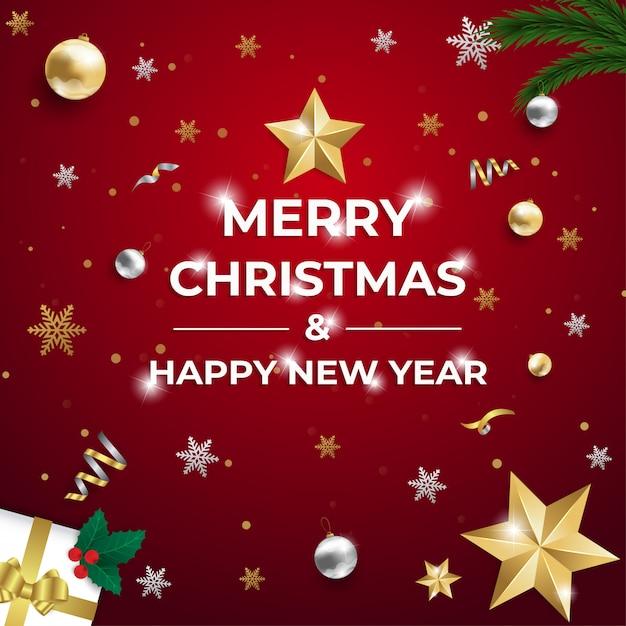 Buon natale e felice anno nuovo auguri Vettore Premium
