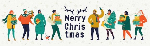Buon natale e felice anno nuovo cartolina d'auguri vettoriale con giochi invernali e persone. Vettore Premium