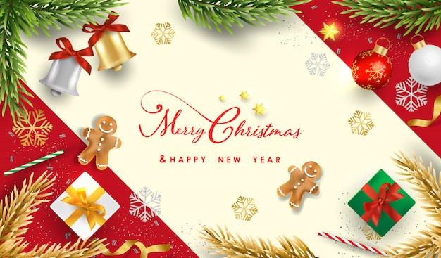 Buon natale e felice anno nuovo con realistici oggetti festivi Vettore Premium
