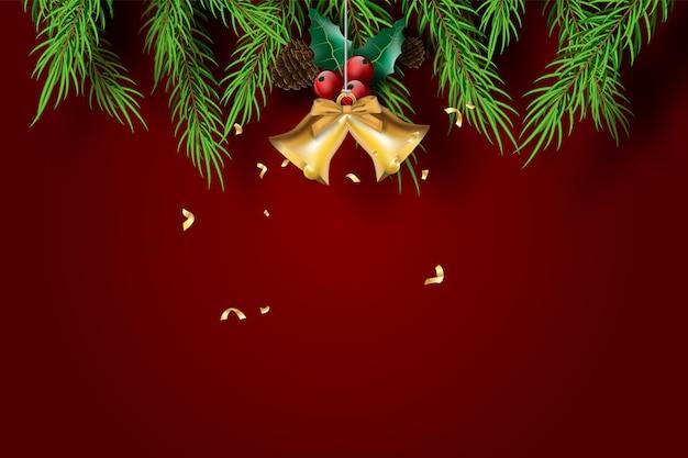 Buon natale e felice anno nuovo con sfondo di tono rosso. Vettore Premium