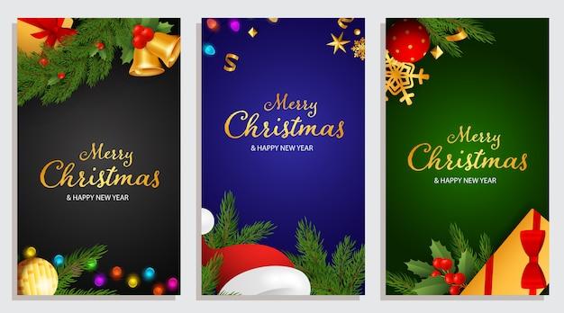 Buon natale e felice anno nuovo design con bacche di agrifoglio Vettore gratuito