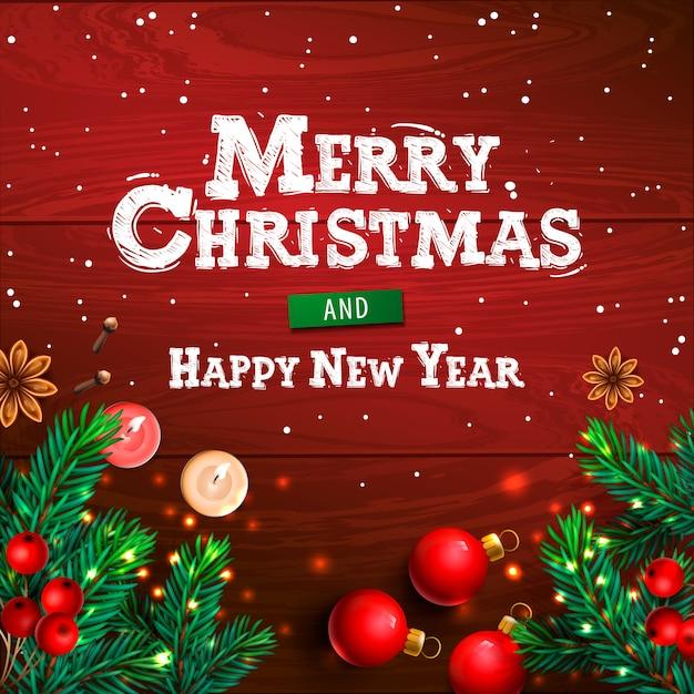 Cartoline Buon Natale E Felice Anno Nuovo.Buon Natale E Felice Anno Nuovo Manifesto Orizzontale Di Natale Cartolina D Auguri Intestazione Sito Web Illustrazione Vettore Premium