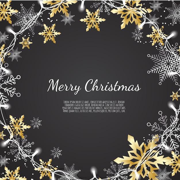 Buon natale e felice anno nuovo, sfondo di natale con brillanti fiocchi di neve oro e argento, biglietto di auguri, banner per le vacanze, Vettore Premium