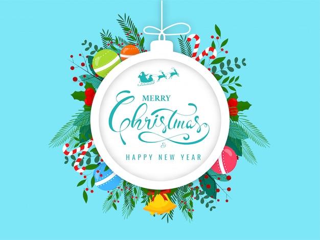 Buon natale e felice anno nuovo testo in cornice a forma di gingillo decorato con jingle bell, palline, bastoncino di zucchero, bacche di agrifoglio, foglie e ramo di bacche su sfondo blu. Vettore Premium
