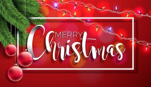 Buon Natale illustrazione su sfondo rosso con tipografia e elementi di vacanza, Vector EPS 10 design. Vettore Premium