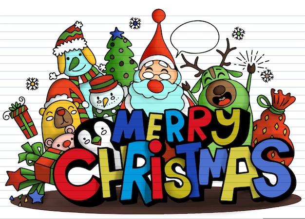 Buon natale! simpatico personaggio natalizio e simpatico alfabeto Vettore Premium