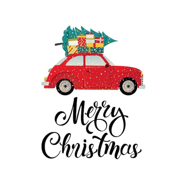 Immagini Natalizie Stilizzate.Buon Natale Stilizzato Tipografia Auto D Epoca Rossa Scaricare