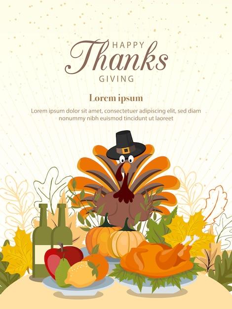 Buon ringraziamento con verdure e foglie colorate. Vettore Premium