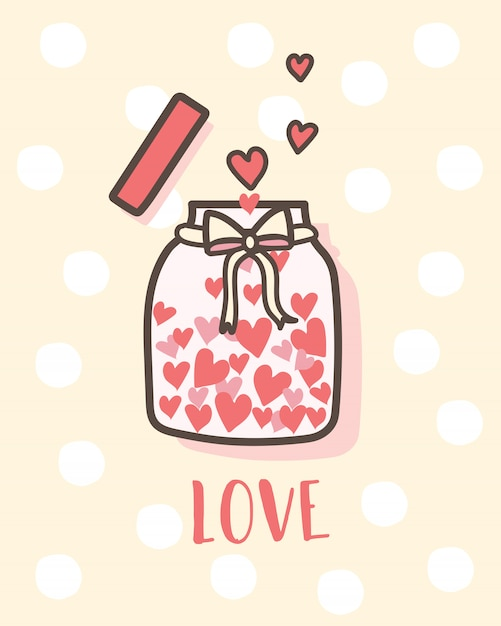 Buon san valentino amore bottiglia con cuori all'interno Vettore Premium