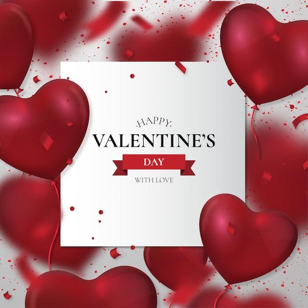 Buon san valentino con palloncini realistici Vettore gratuito