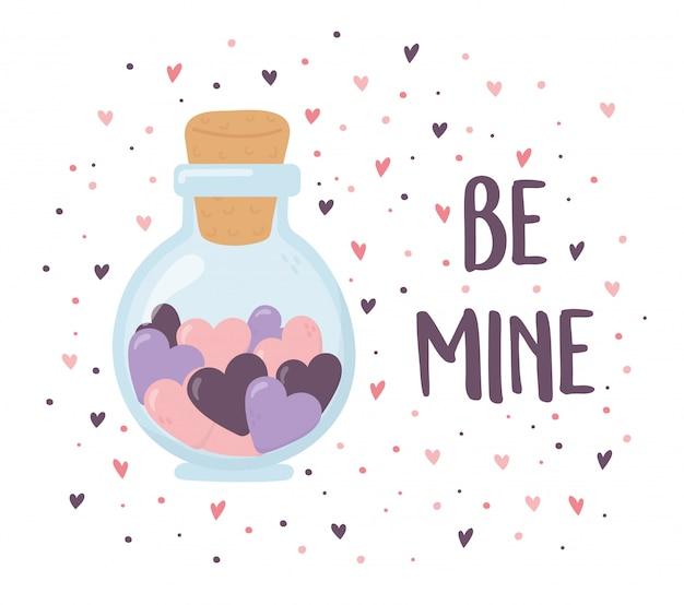Buon san valentino, cuori in uno sfondo romantico barattolo di vetro Vettore Premium