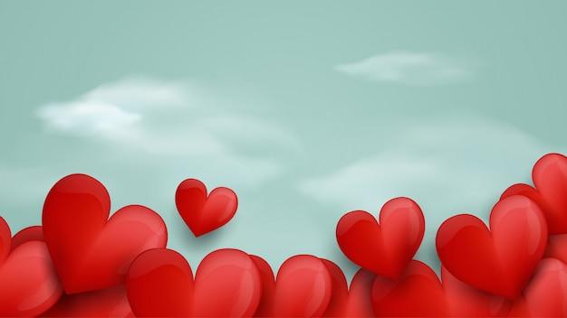 Buon San Valentino Cuori Rossi E Sfondo Blu Morbido Scaricare